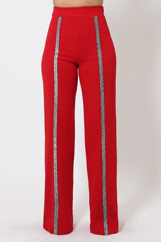 High Waist Striped Glitter Pants
