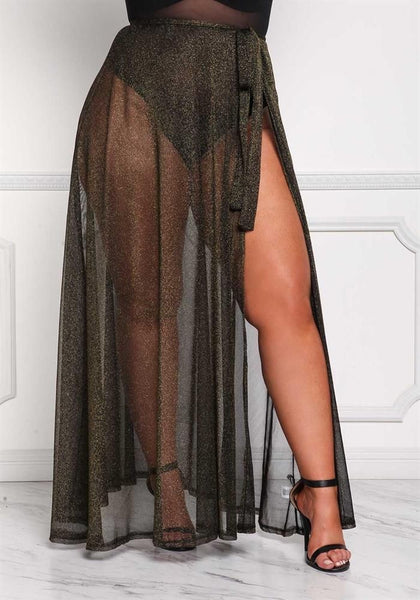 Mesh Sparkle Sarong Coverup (Plus)