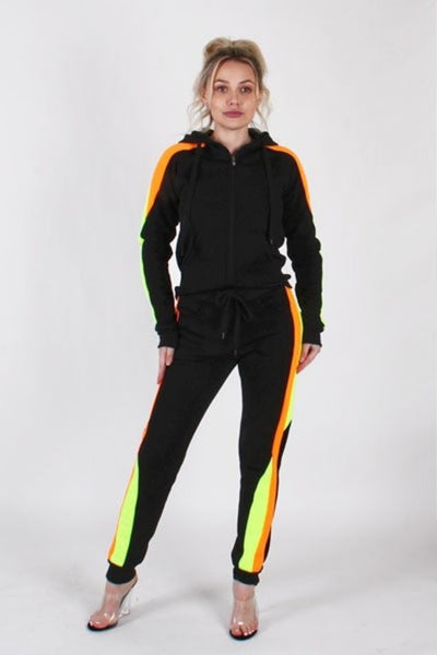 TWIST STRIPE HOODIE AND JOGGER PANTS (Plus)