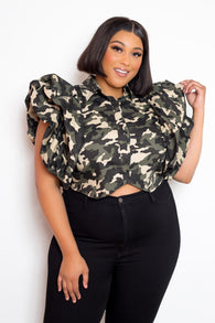 Ruffle Sleeve Button-Front Crop Top (Plus)