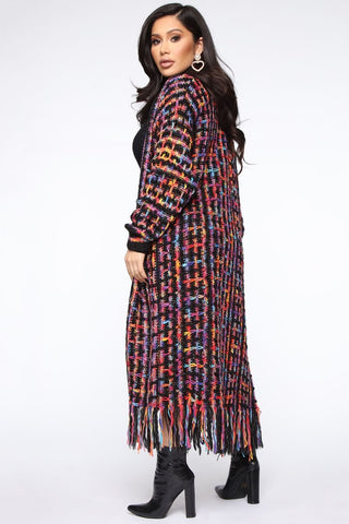 Colorful Knit Maxi Cardigan Sweater