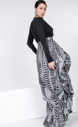 Tracking Detail Print Maxi Skirt