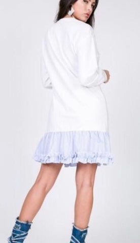 Contrast Ruffled Bottom Dress