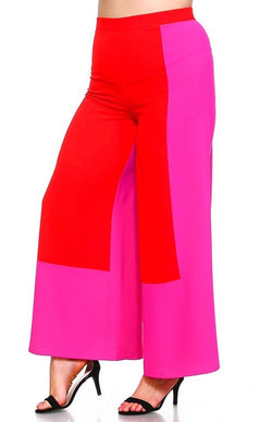 Red/Pink Wide leg Pant (Plus)
