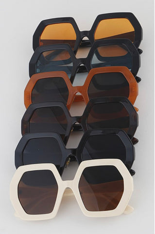 Hexagonal Thick Frame Sunglasses