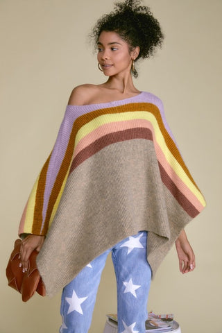 Color Block Loose Poncho