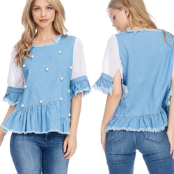 Denim and Pearls Top