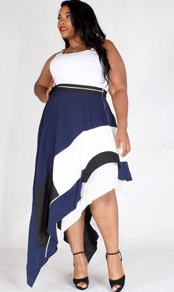 Asymmetric Double Layer Skirt (Plus)