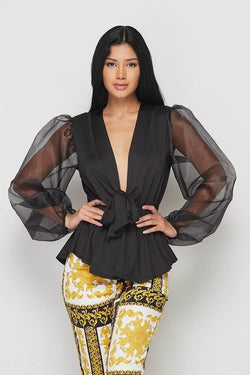 Dream Come True Sheer Sleeve Peplum Top