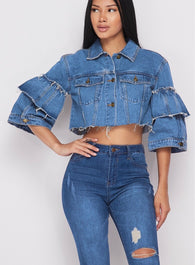 Ruffled Sleeve Cropped Denim Jacket