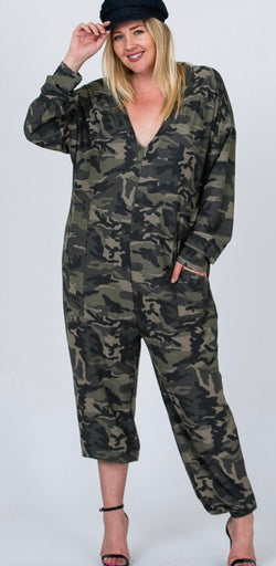 Relaxed Fit Oversized Camo Jumpsuit (Plus)