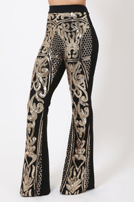 High Waist Meshed Gold Sequins Pattern Pants