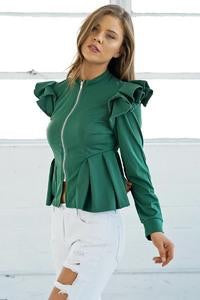 Ruffle Shoulder Peplum Jacket