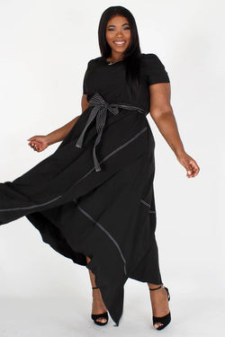 Contrast Detail Belted Maxi Dress (Small - Plus)