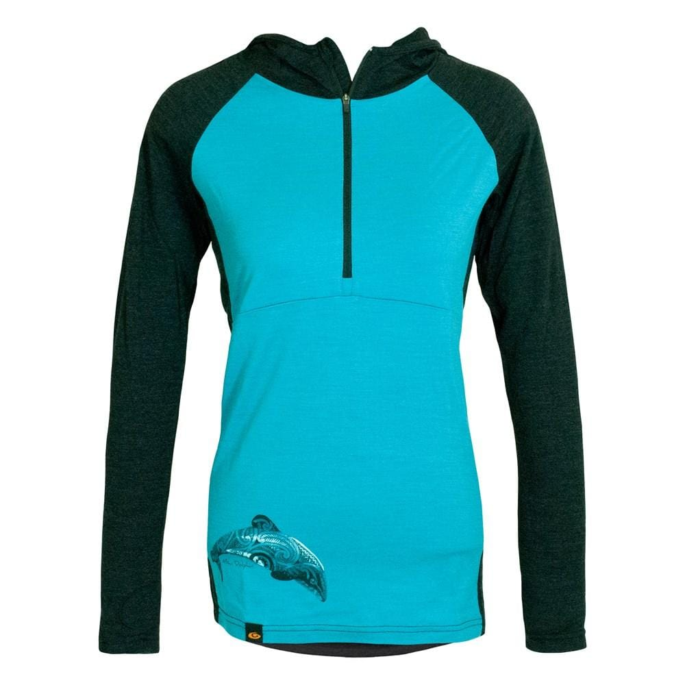 Maui Dolphin Merino 1/4 Zip Womens Hoodie - Global Culture