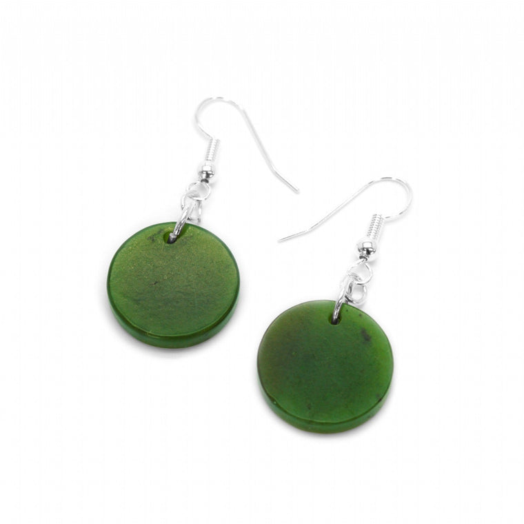NZ Greenstone Circle Drop Earrings