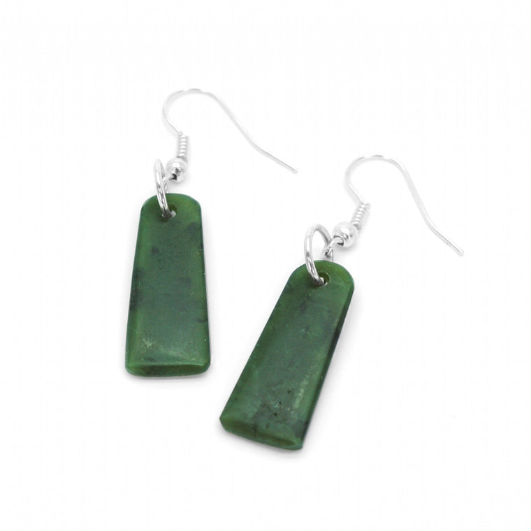 NZ Greenstone Rectangle Drop Earrings