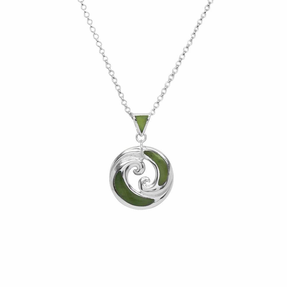 NZ Silver Greenstone X2 Circle Wave Pendant - Global Culture