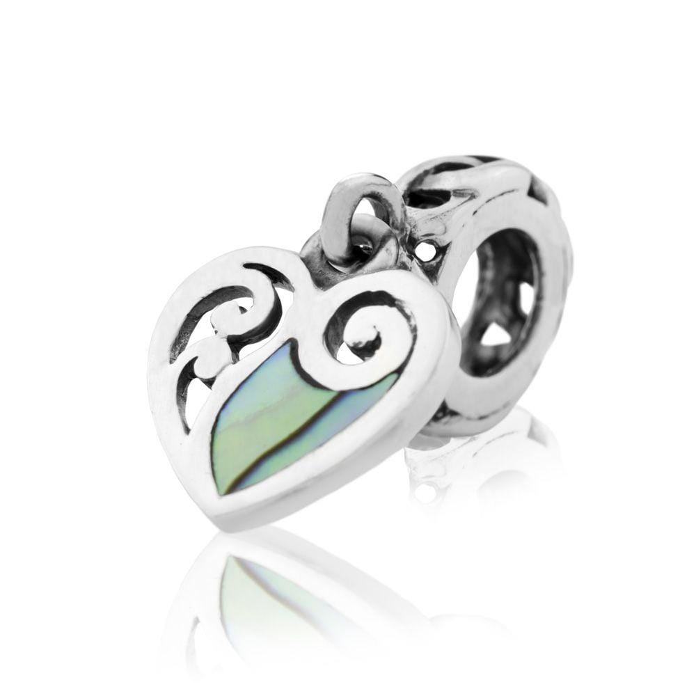 Paua Heart Dangle Charm - Global Culture