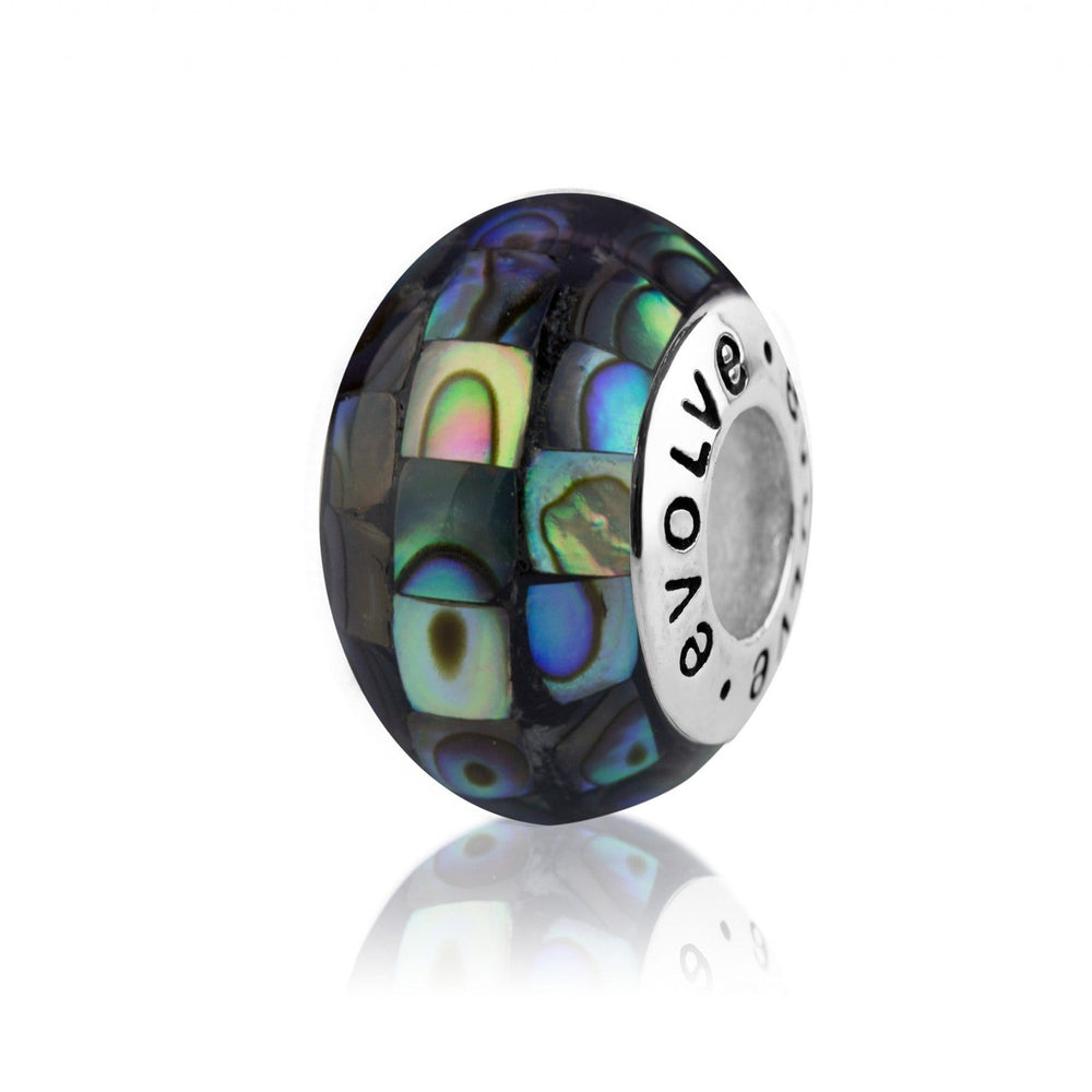 Paua Mosaic Silver Charm - Global Culture