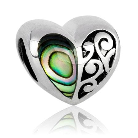 Aroha Paua Silver Charm - Global Culture