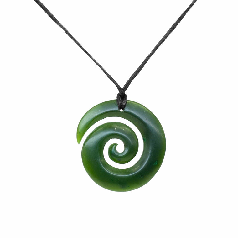 NZ Greenstone Circle Koru Pendant