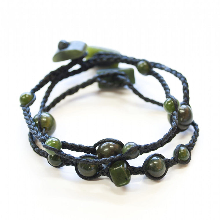 Jade Bead & Leather Bracelet