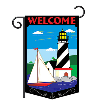 "Two Group G156035-P2 Welcome Lighthouse Coastal Nautical Applique Decorative Vertical 13"" x 18.5"" Double Sided Garden Flag"