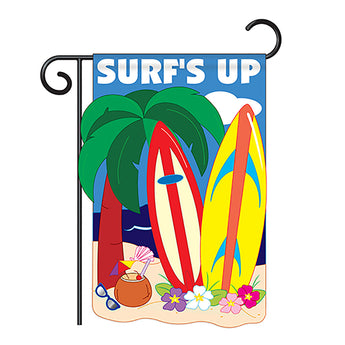 "Two Group G156041-P2 Surf's Up Summer Fun In The Sun Applique Decorative Vertical 13"" x 18.5"" Double Sided Garden Flag"