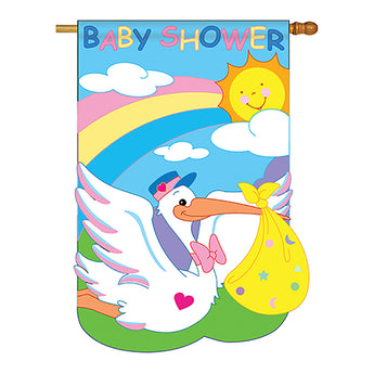 "Two Group H115051-P2 Baby Shower Special Occasion Family Applique Decorative Vertical 28"" x 40"" Double Sided House Flag"