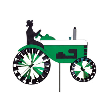 "Two Group - WW175007 Green & White Tractor Interests - Everyday Applique Decorative Windwheel 20"" x 49"""