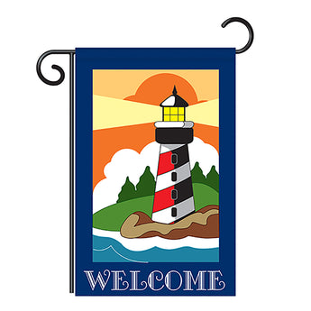 "Two Group G156052-P2 Lighthouse Coastal Nautical Applique Decorative Vertical 13"" x 18.5"" Double Sided Garden Flag"
