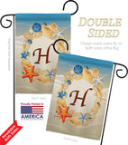 Summer H Initial - Beach Coastal Vertical Impressions Decorative Flags HG130164 Made In USA