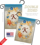 Summer K Initial - Beach Coastal Vertical Impressions Decorative Flags HG130167 Made In USA