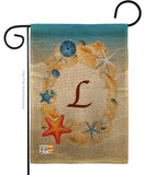 Summer L Initial - Beach Coastal Vertical Impressions Decorative Flags HG130168 Made In USA
