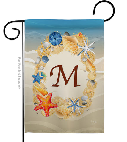 Summer M Initial - Beach Coastal Vertical Impressions Decorative Flags HG130169 Made In USA