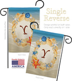 Summer Y Initial - Beach Coastal Vertical Impressions Decorative Flags HG130181 Made In USA