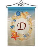 Summer D Initial - Beach Coastal Vertical Impressions Decorative Flags HG130160 Made In USA
