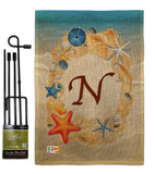 Summer N Initial - Beach Coastal Vertical Impressions Decorative Flags HG130170 Made In USA