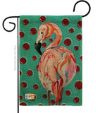 Polka Dot Flamingo - Birds Garden Friends Vertical Impressions Decorative Flags HG105048 Made In USA