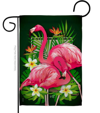 Tropical Flamingo - Birds Garden Friends Vertical Impressions Decorative Flags HG137031 Made In USA
