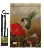 Ruby Hummingbird - Birds Garden Friends Vertical Impressions Decorative Flags HG105050 Made In USA