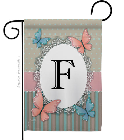 Butterflies F Initial - Bugs & Frogs Garden Friends Vertical Impressions Decorative Flags HG130136 Made In USA