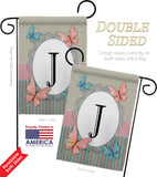 Butterflies J Initial - Bugs & Frogs Garden Friends Vertical Impressions Decorative Flags HG130140 Made In USA
