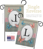Butterflies L Initial - Bugs & Frogs Garden Friends Vertical Impressions Decorative Flags HG130142 Made In USA