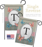Butterflies T Initial - Bugs & Frogs Garden Friends Vertical Impressions Decorative Flags HG130150 Made In USA