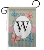 Butterflies W Initial - Bugs & Frogs Garden Friends Vertical Impressions Decorative Flags HG130153 Made In USA