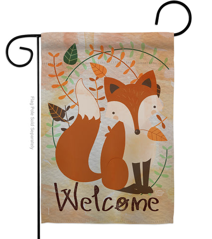 Welcome Fox - Bugs & Frogs Garden Friends Vertical Impressions Decorative  Flags HG191107 Printed In USA