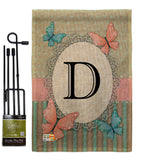 Butterflies D Initial - Bugs & Frogs Garden Friends Vertical Impressions Decorative Flags HG130134 Made In USA