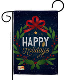 Happy Holidays Wreath - Christmas Winter Vertical Impressions Decorative Flags HG114149 Made In USA